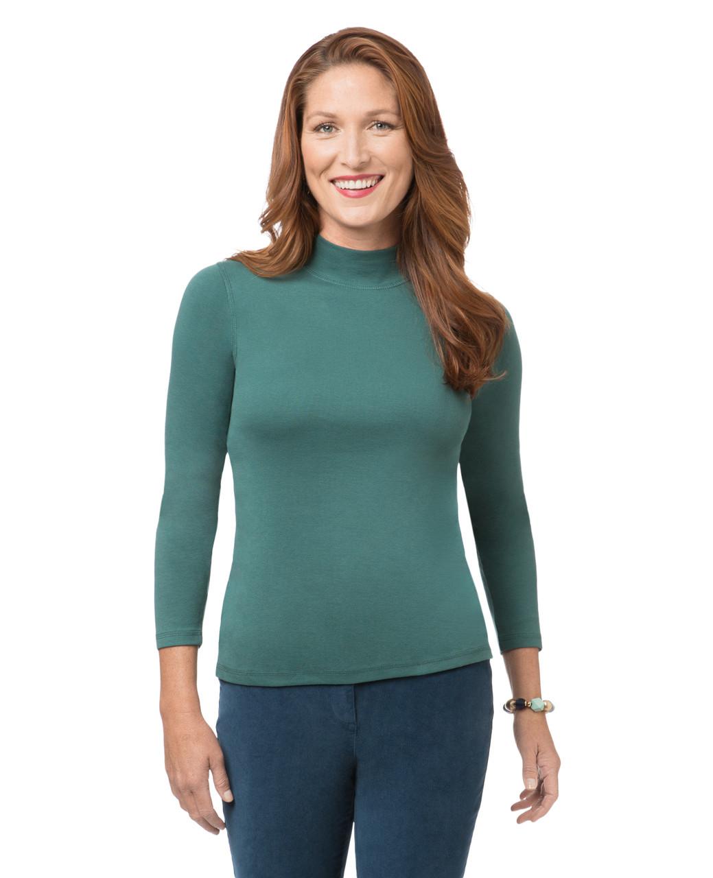 684076f14ab1 Solid Long Sleeve Mock Neck Shirt