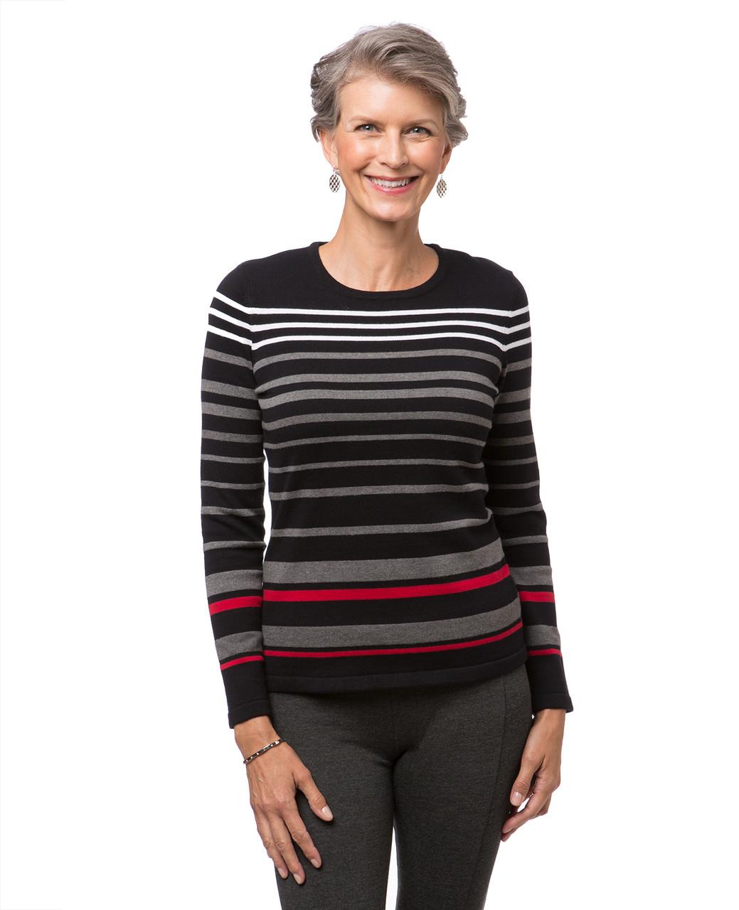 Women s black striped crew neck sweater 09f7f10838