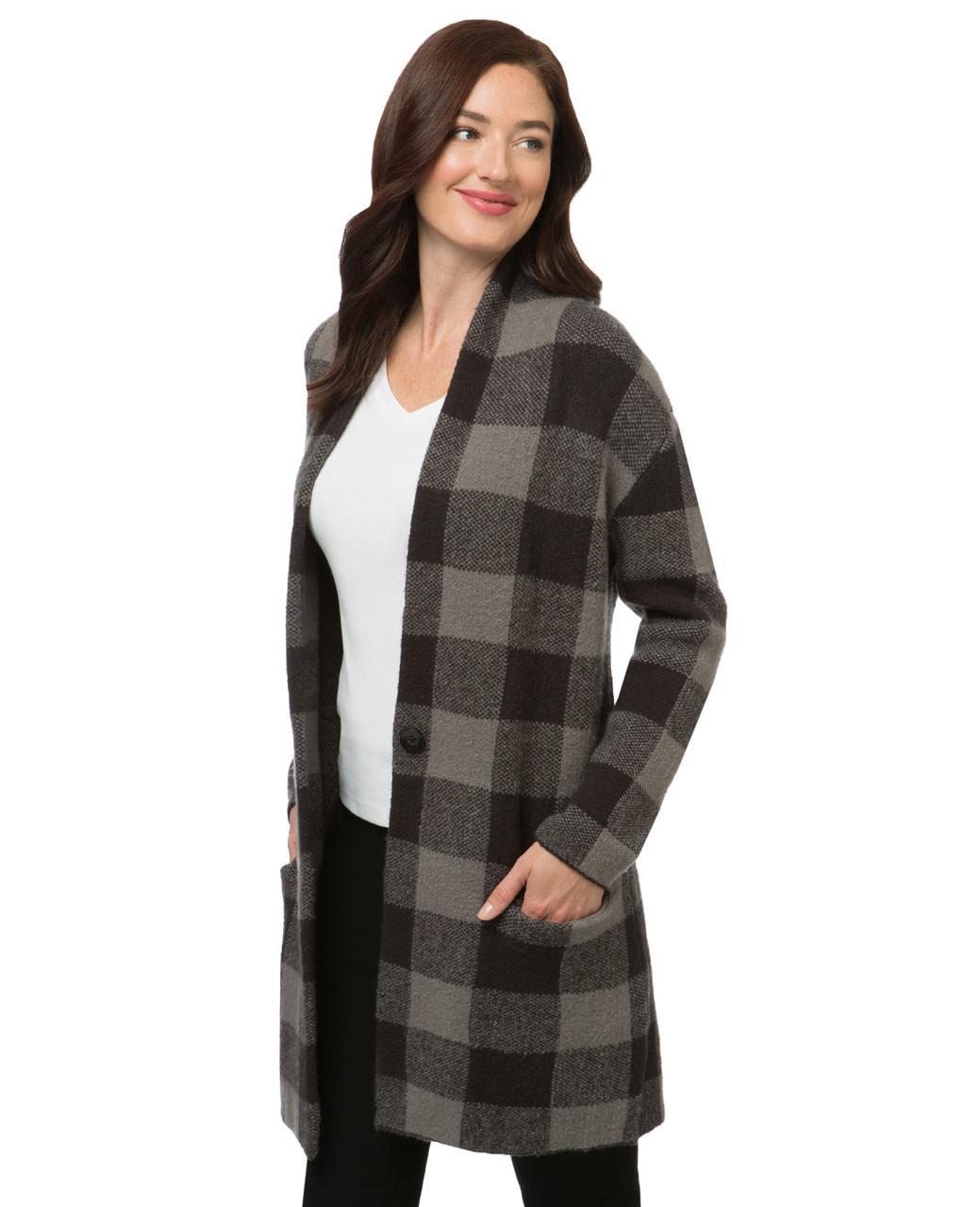 special discount of clearance sale choose latest Shawl Collar Checkered Sweater Coat