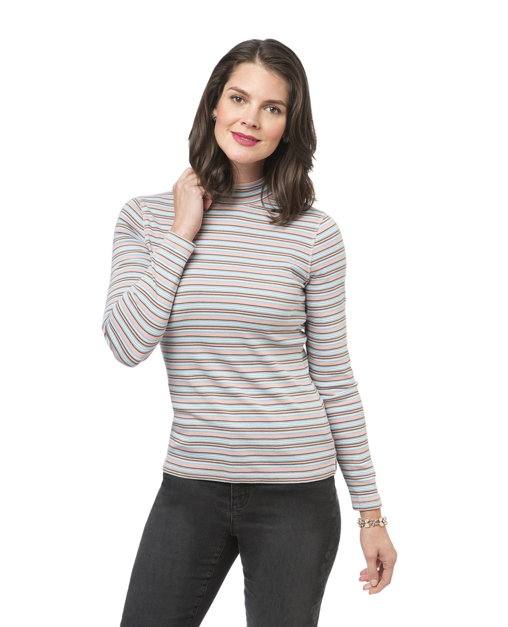d173567838 Striped Mock Neck Tee | Northern Reflections