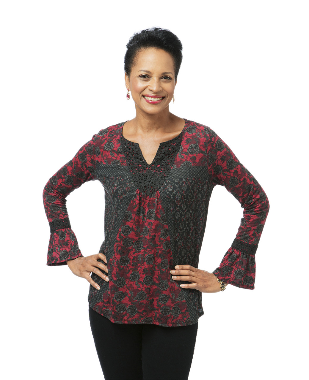 aeb3d045 Black & Red Bell Sleeve Lace Top for Women   Northern Reflections