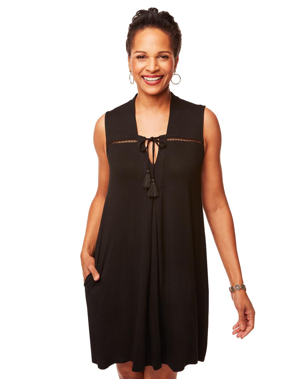 13f215c1ce Women s Black Sleeveless Knit Dress
