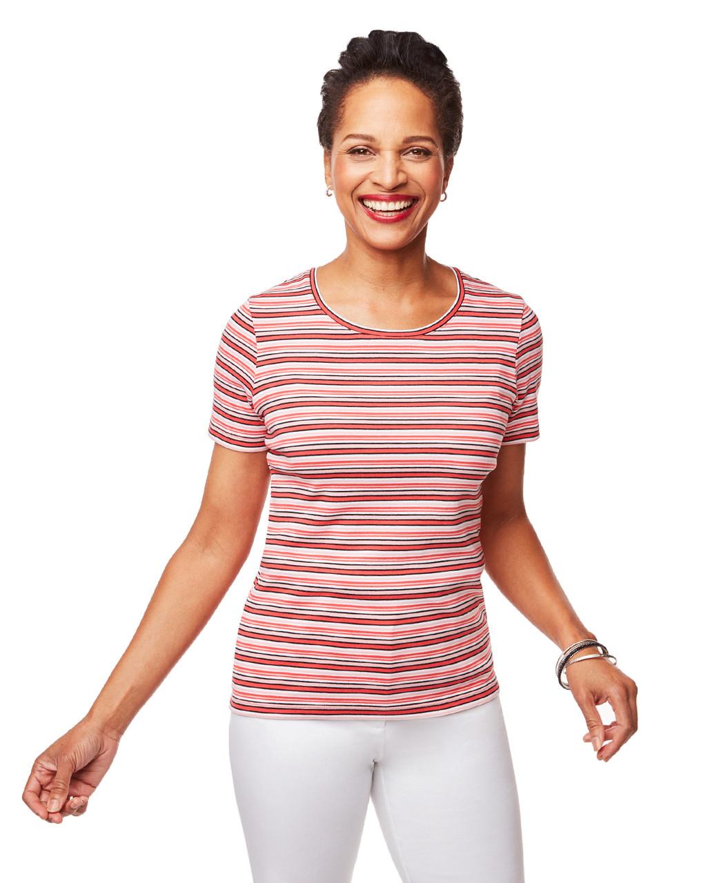 cd3c6b3c369a6b Women s Short Sleeve Stripe Crew Neck Tee