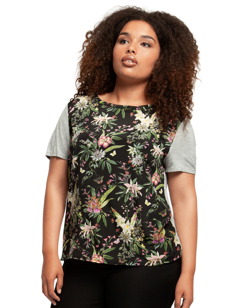 587cb837824075 Plus Size Tropical Print Tee | Northern Reflections