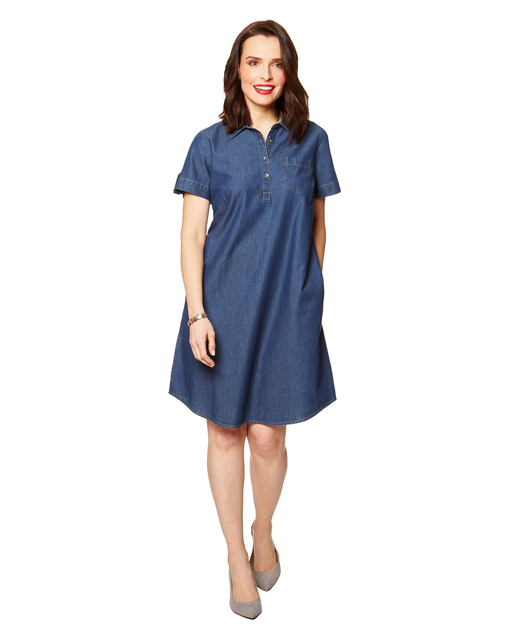 3ec70eb377 Women s Short Sleeve Denim Dress