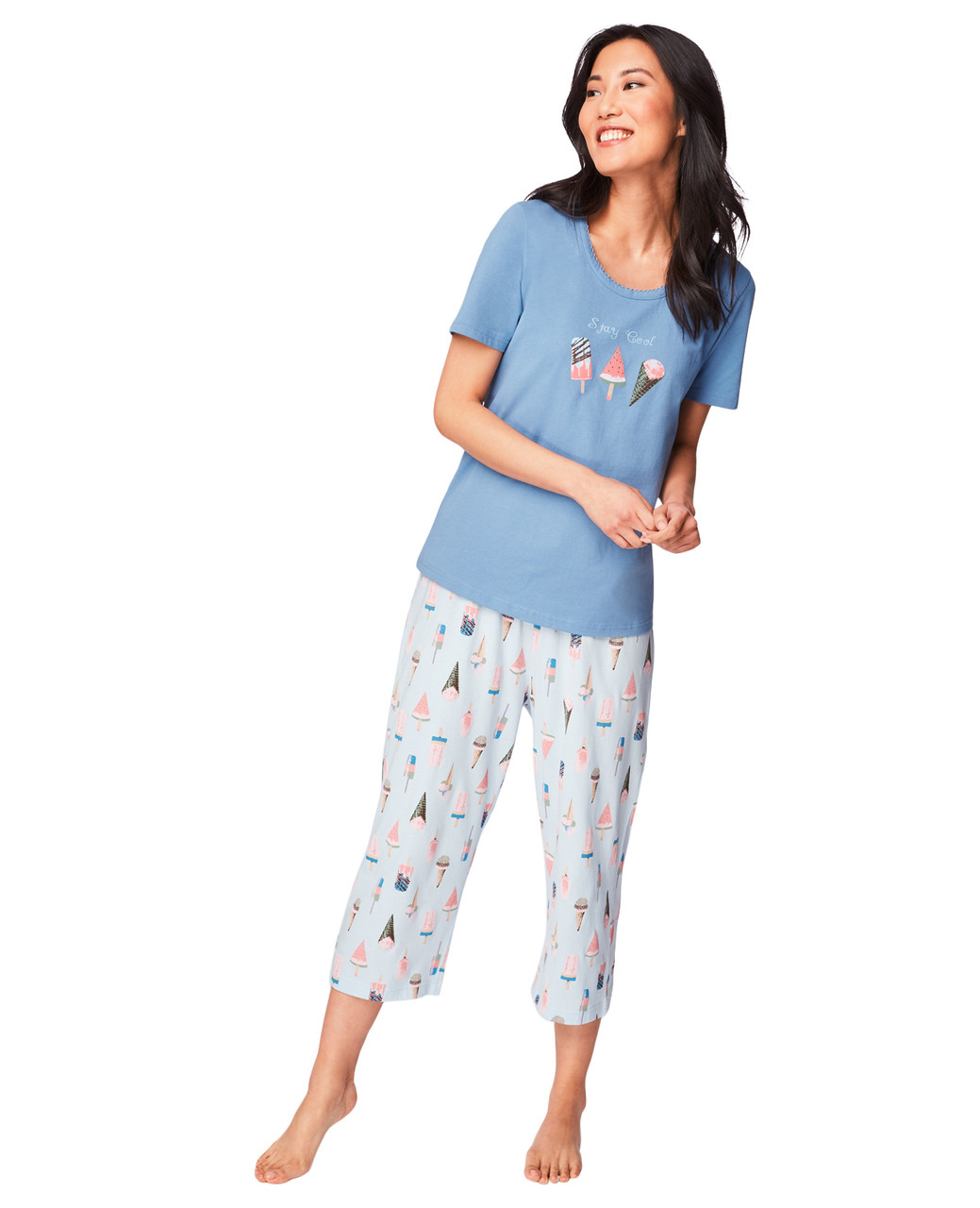f4c7df8899c Women s Blue Ice Cream Print Pajama Set