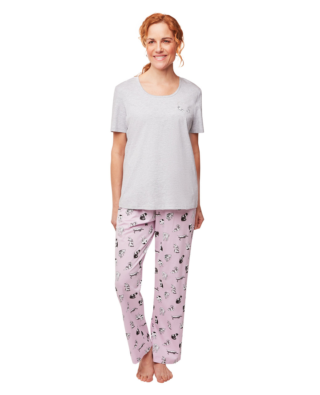 baf89c65f55 Women s Grey Cat Print Pajama Set