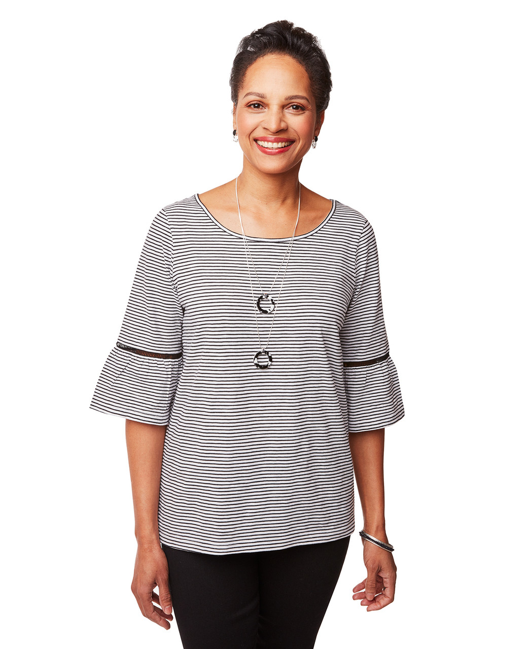 af05642bfa26 Women's White Stripe Bell Sleeve Top | Northern Reflections