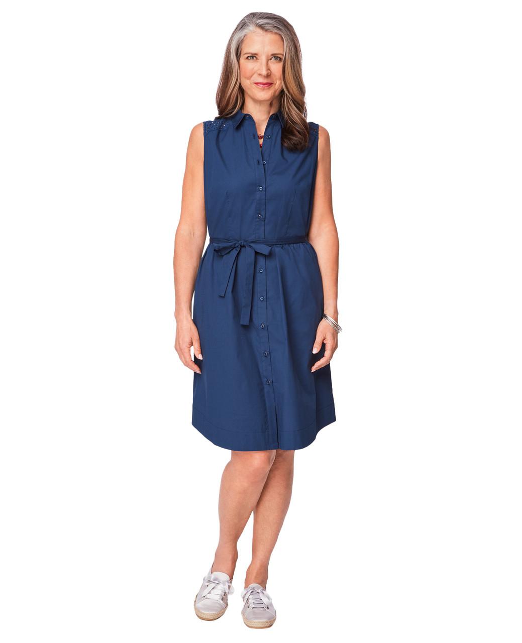 05da122a4c Women's Marine Navy Blue Sleeveless Poplin Shirt Dress | Northern ...