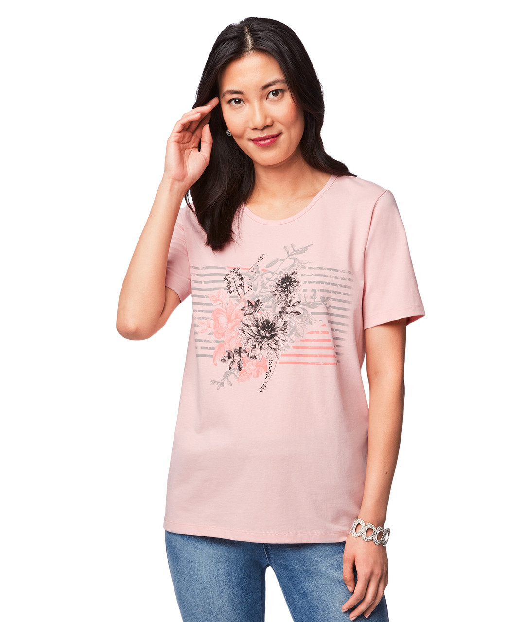 4b5a7775644 Women's Coral Pink Floral Stripe Jersey   Northern Reflections