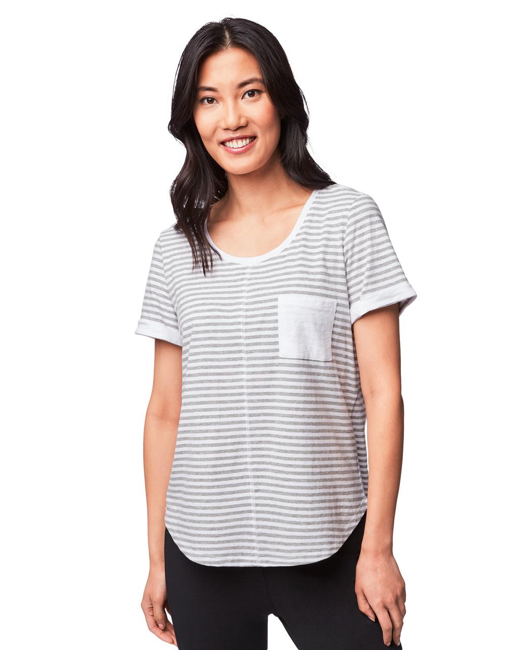2e2ba6e6ac63e Women s Grey Short Sleeve Striped Tee