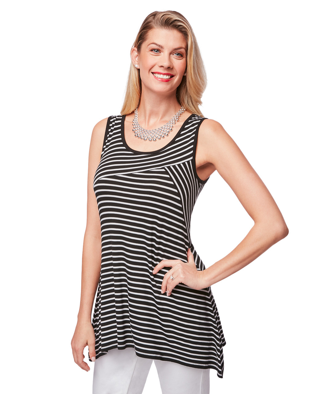 c9858e1e Women's black striped sharkbite hem top   Northern Reflections