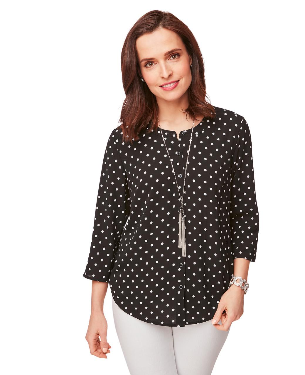 Roll-Tab Sleeve Polka Dot Shirt