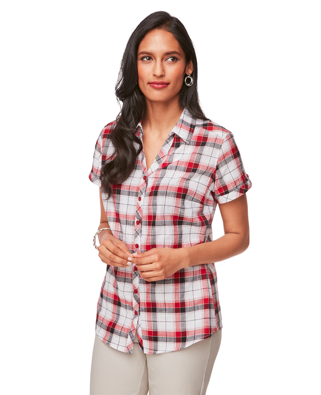 1edd3d52 Red and Black Plaid Short Sleeve Button Down Shirt for Women ...