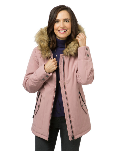 Women s pink quilted winter jacket a7ae8adebe4