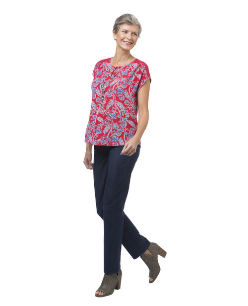 c8669ea5a54d2b Petite Red Sleeveless Floral Popover