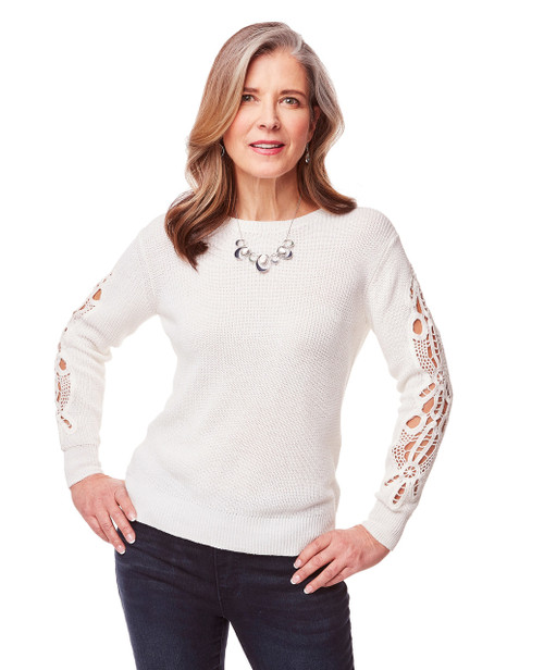 Womens White Crochet Sleeve Sweater Northern Reflections