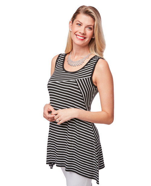 aa29c0f0679 ... Women s black striped sharkbite hem top