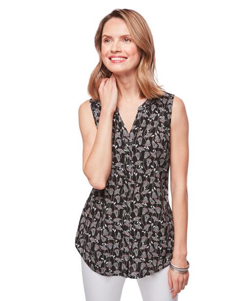 6c04131233147 Women s black sleeveless floral top