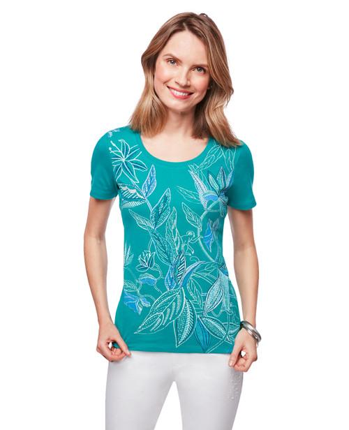 9fad1ed628e Women s green leaf printed short sleeve tee