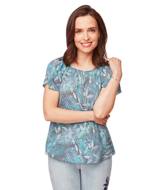 762715d958835 Women's Flutter Sleeve Blouse Top in Blue and Gray Leaf Print