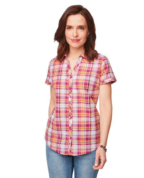41f415610 Women's Short Sleeve Button Down in Pink and Orange Plaid