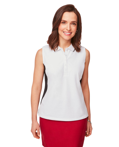 aaeb450975b222 Women's Sleeveless Collared Polo Shirt in White and Black Color block