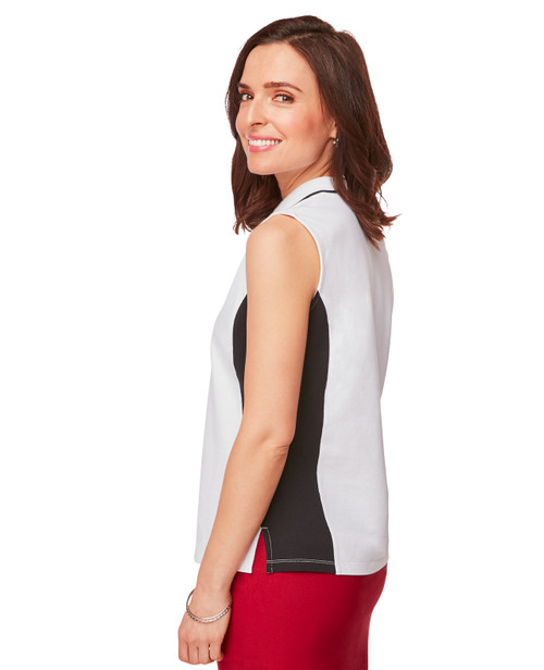 0f6881f418 ... Women's Sleeveless Collared Polo Shirt in White and Black Color block