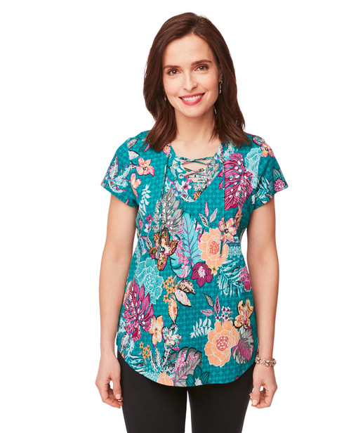 21b664b6c1 Women s Teal Floral Short Sleeve Shirt with Grommet Neckline