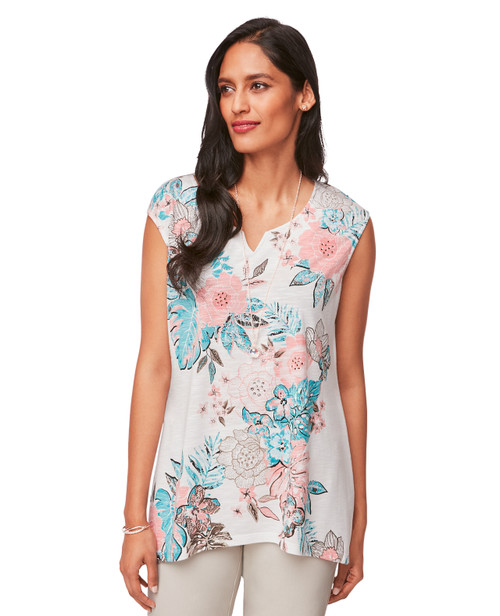 4a880bf31 Petite Women's Sleeveless Asymmetrical Hem Shirt in Pink and Blue Floral