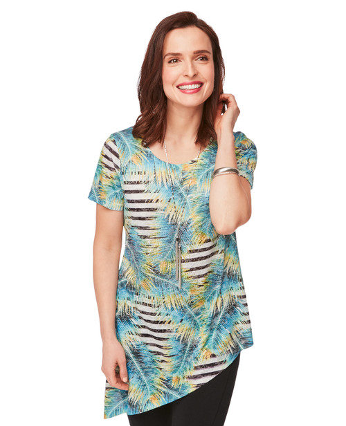 a88c21ae00d NEW ARRIVAL. Women s Side Tie Short Sleeve Shirt in Leaf and Stripe Print