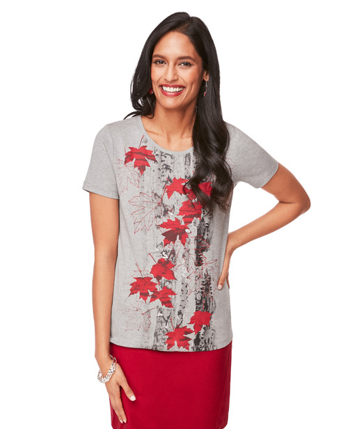f991c168f43 Women s Grey Birch Leaf Short Sleeve Tee