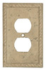 Resin Travertine Faux Stone Wall Switch Plate Outlet Cover - Duplex Power Plug - Rope - Dark Travertine Color - $4.99