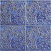 Bristol Studios - Nouveau - G2349 Nantes Blue Relief Deco - 6X6 Hand Crafted Decorative Tile - $2.95