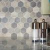 American Olean Entourage Crosswood Hexagon Glass - CR96 Pelican - Wood Look Glass Tile Mosaic - Sample