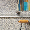 American Olean Entourage Crosswood Hexagon Glass - CR96 Pelican - Wood Look Glass Tile Mosaic - $12.99