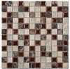 Tranquil - TS-901 Coffee & Cream - 1X1 Square Crackle Jewel Glass & Natural Stone Decorative Mosaic Tile - Sample