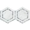 Carrara White Marble - Hexagon Mosaic Tile - Combination with Blue Gray Bardiglio - HONED