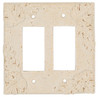 Resin Travertine Faux Stone Wall Switch Plate Outlet Cover - Double Rocker GFCI - Leaves - Light Travertine Color - $6.99