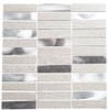 Maison De Luxe Series - MDX-2702 Silver Tower - Brick Shape Porcelain Wood & Metal Mosaic Tile - Stacked