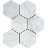 White Carrara Marble - 5 X 5 Hexagon Mosaic - Polished - Premium Italian Carrera Natural Stone