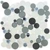 Symphony Bubble Round Mosaic Tile - SBS1512 Grey Fizz - Glass & Natural Stone Marble Interlocking Sheet - Sample