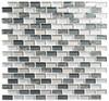 Metro - MTR-3343 Jules Charcoal- 5/8 X 1-1/4 Mini Brick Subway Mix Foil Glass Tile Mosaic