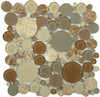 Supplier: Tile Store Online, Name: BFS-801, Color: Toffee,Type: Round Glass & Stone Mosaic Tile, Size: 12X12
