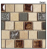 Tranquil Offset - TS-924 Russian Denim - 1X1 Crackle Jewel Glass & Natural Stone Decorative Mosaic Tile - Sample