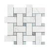 Carrara White Marble - Large Basketweave Pattern Mosaic Tile - Blue Gray Dot - POLISHED