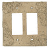Resin Travertine Faux Stone Wall Switch Plate Outlet Cover - Double Rocker GFCI - Leaves - Dark Travertine Color - $6.99