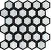 White Carrara Marble - 2 X 2 Vortex Hexagon With Black Mosaic - Honed - Premium Italian Carrera Natural Stone