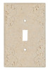 Resin Travertine Faux Stone Wall Switch Plate Outlet Cover - Single Toggle Switch - Leaves - Light Travertine Color - $4.99