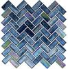 Supplier: Tile Store Online, Name: Oceania OCS-182, Color: Cobalt Sea,Type: Herringbone Glass Mosaic Tile, Size: 1X2